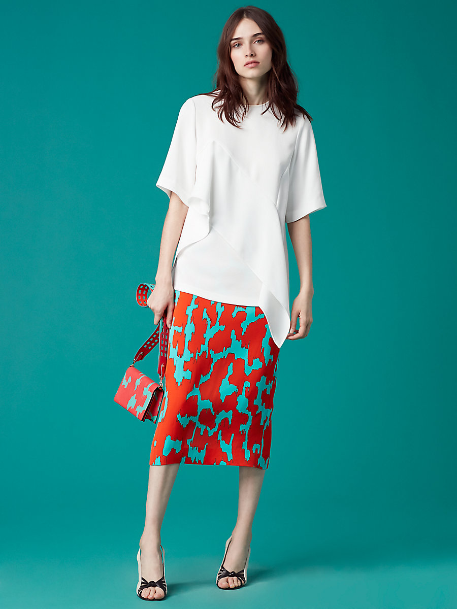 Short Sleeve Ruffle Front Blouse in White by DVF