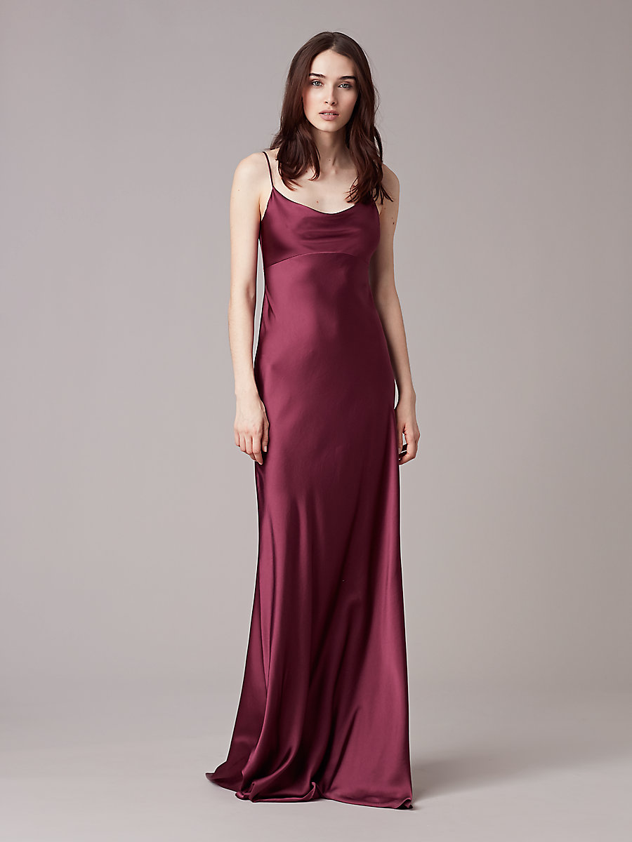 Sleeveless Cowl Neck Gown in Aubergine by DVF