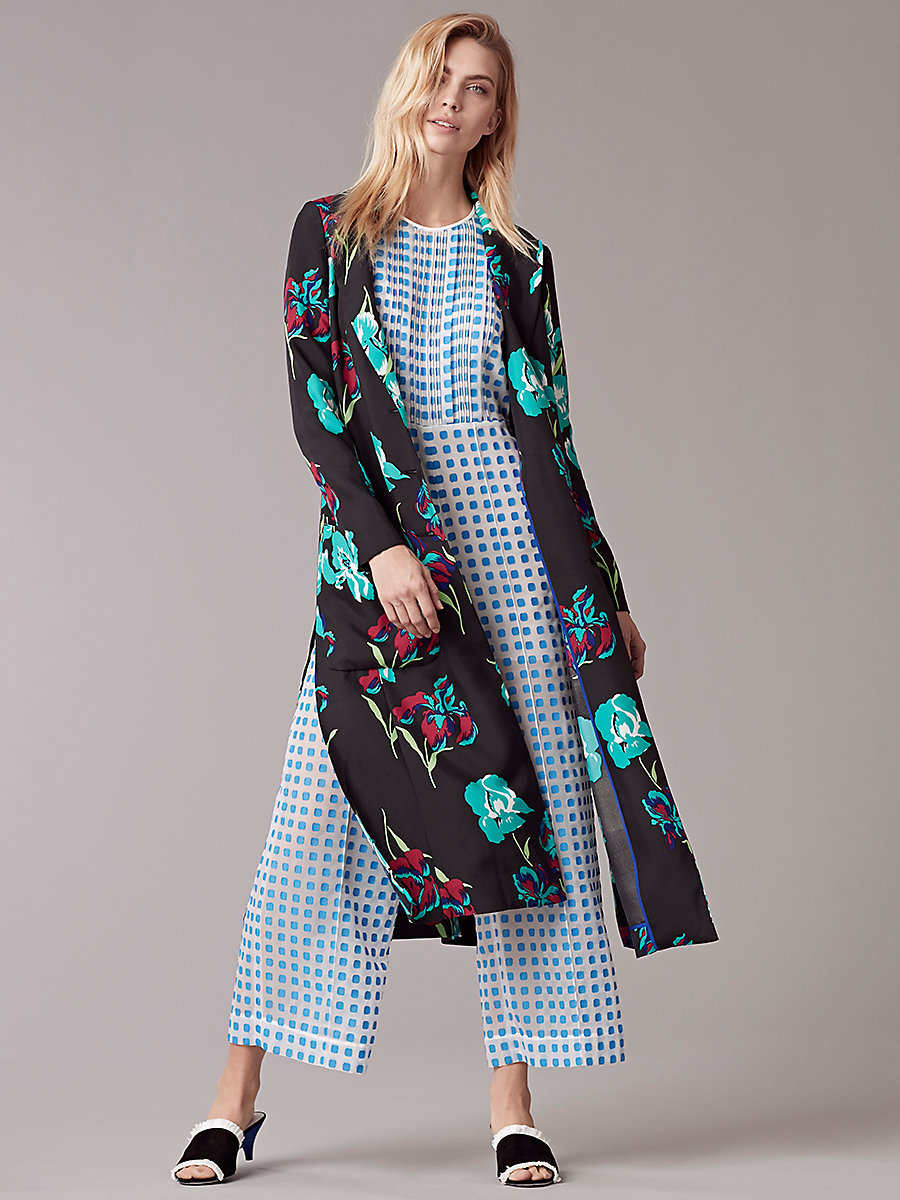 Long Collared Coat in Ainsworth Black by DVF