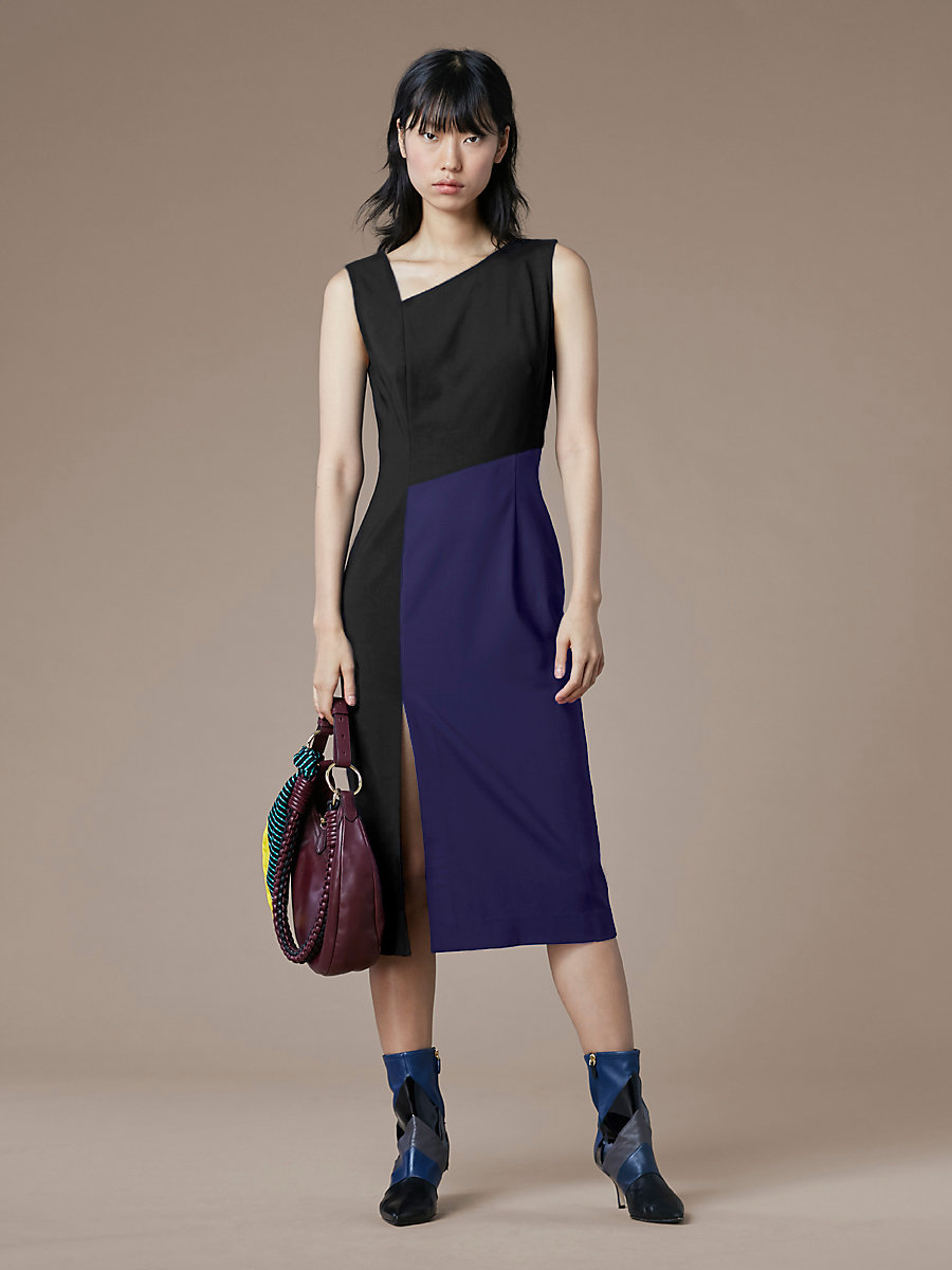 Asymmetric Neck Midi Dress in Black/ Deep Violet by DVF