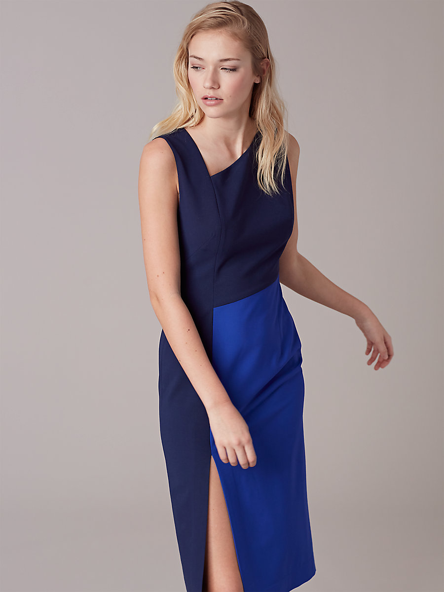 Asymmetric Neck Midi Dress in Midnight/ Klein Blue by DVF