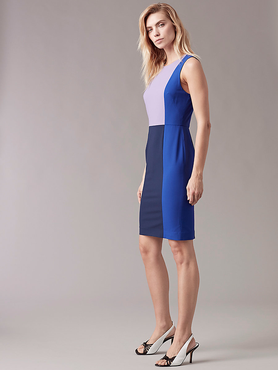 Sleeveless Paneled Tailored Dress in Midnight/ Klein Blue by DVF