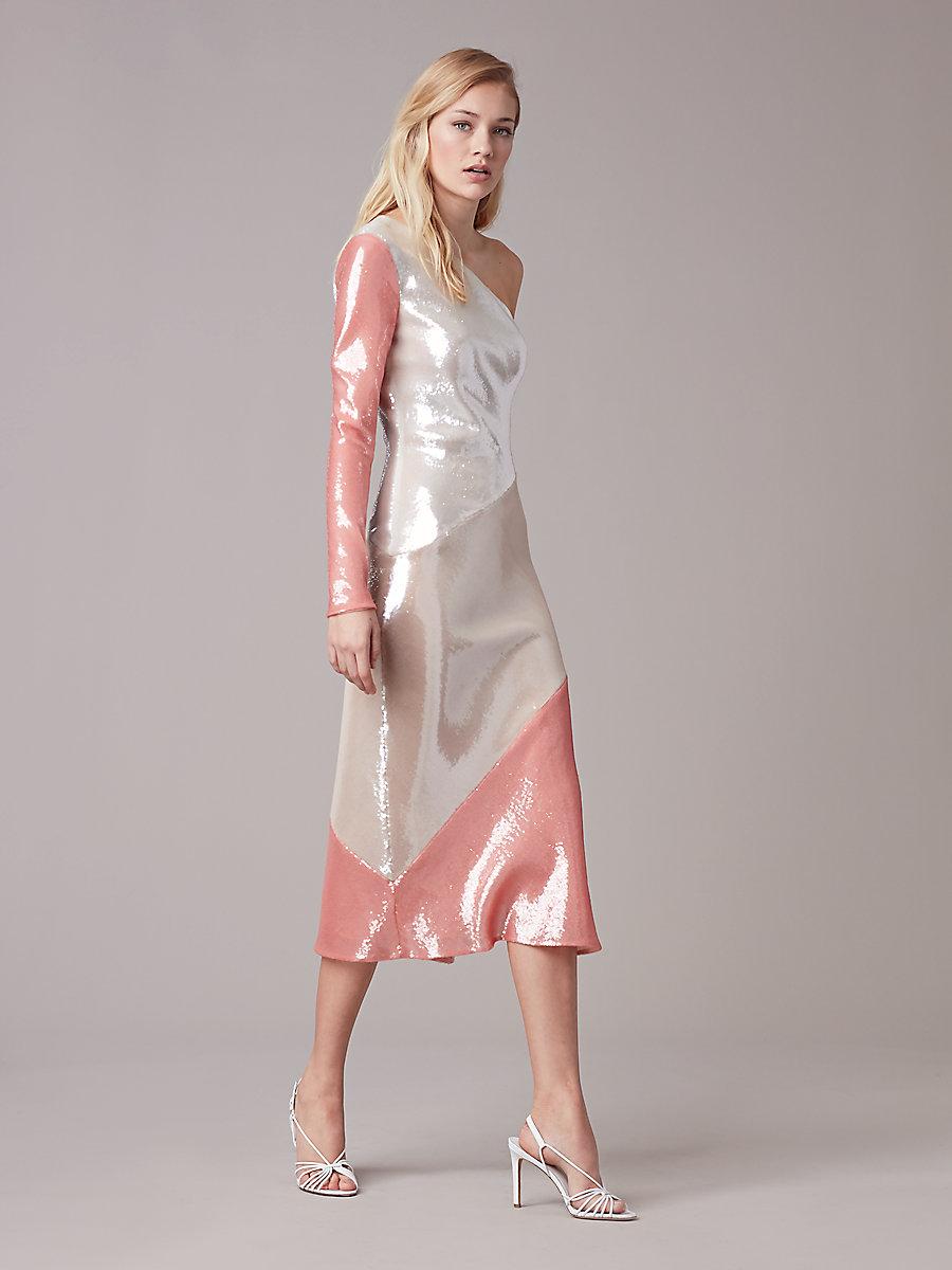 One-Shoulder Sequin Bias Dress in Ivory/ Light Frappe/ Deep Rose by DVF