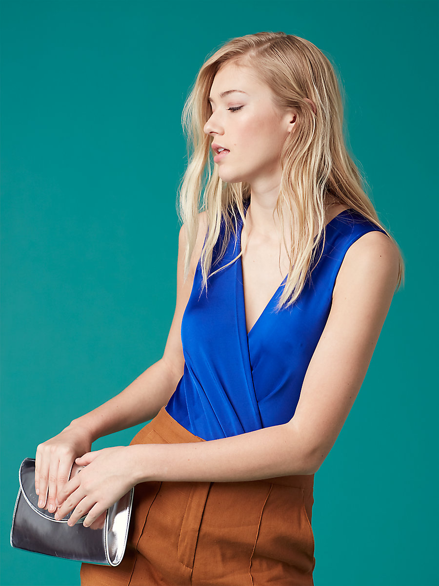 Sleeveless Faux Wrap Bodysuit in Klein Blue by DVF