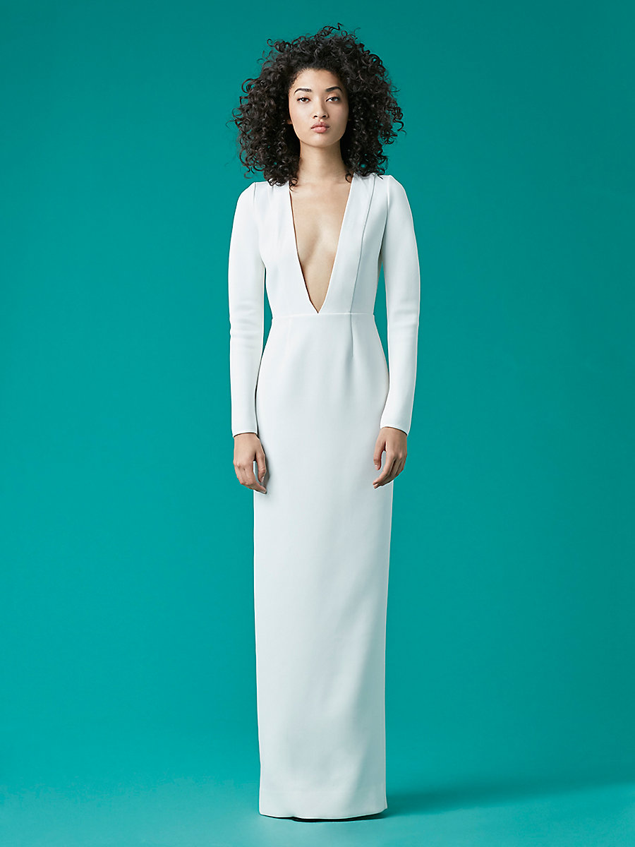 V-Neck Tailored Gown in White by DVF