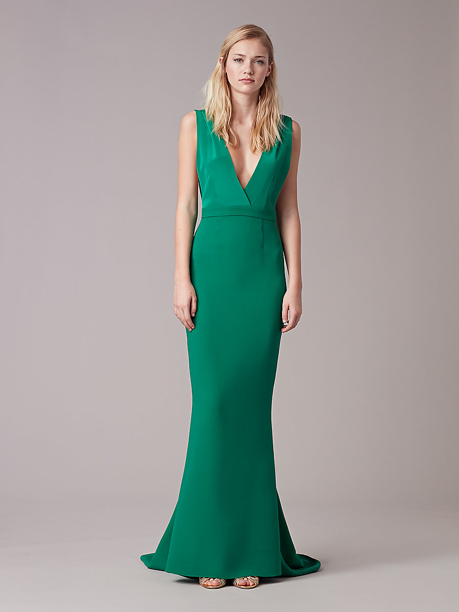 Deep V Tailored Gown in Green by DVF