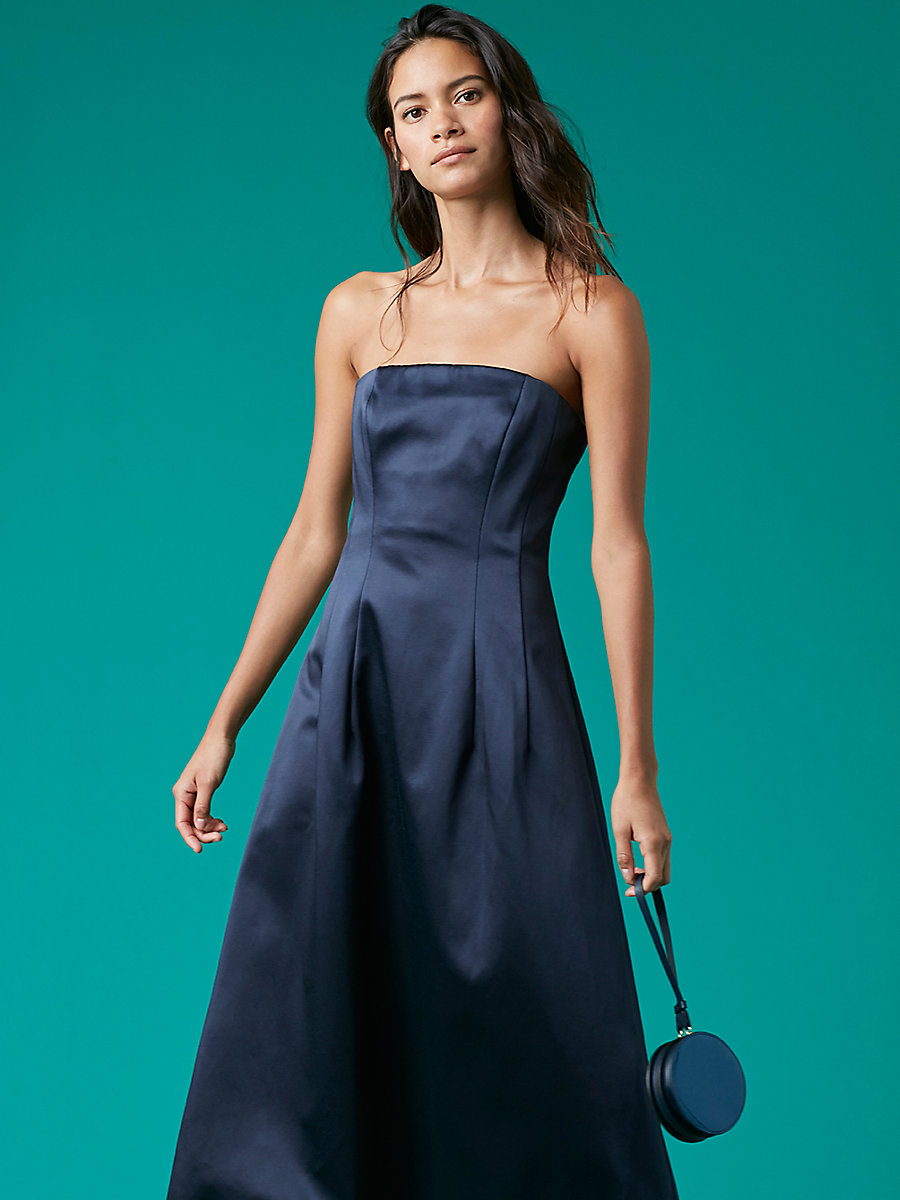 Flare Midi Gown in Navy by DVF