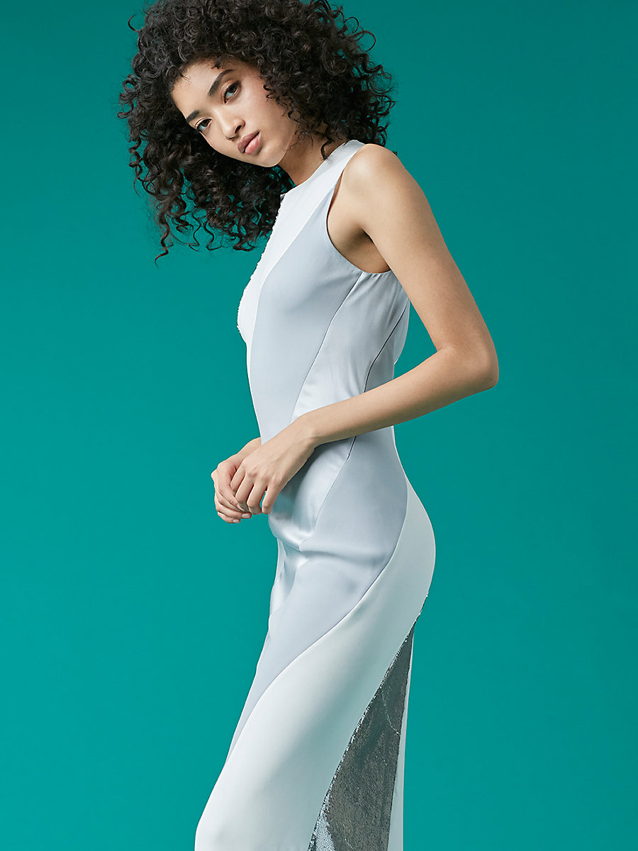 Sleeveless Bias Gown in White by DVF