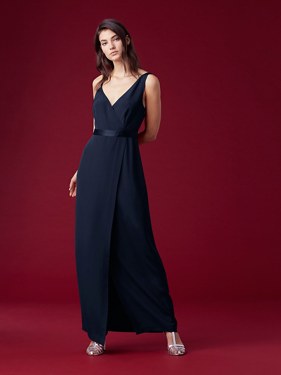 Asymmetric Side Slit Gown in Alexander Navy by DVF