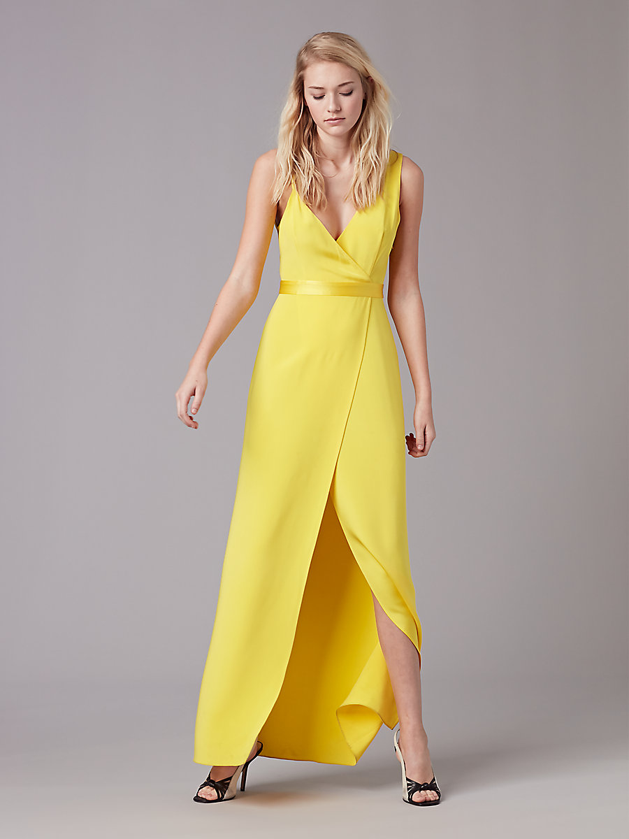 Asymmetric Side Slit Gown in Daffodil by DVF