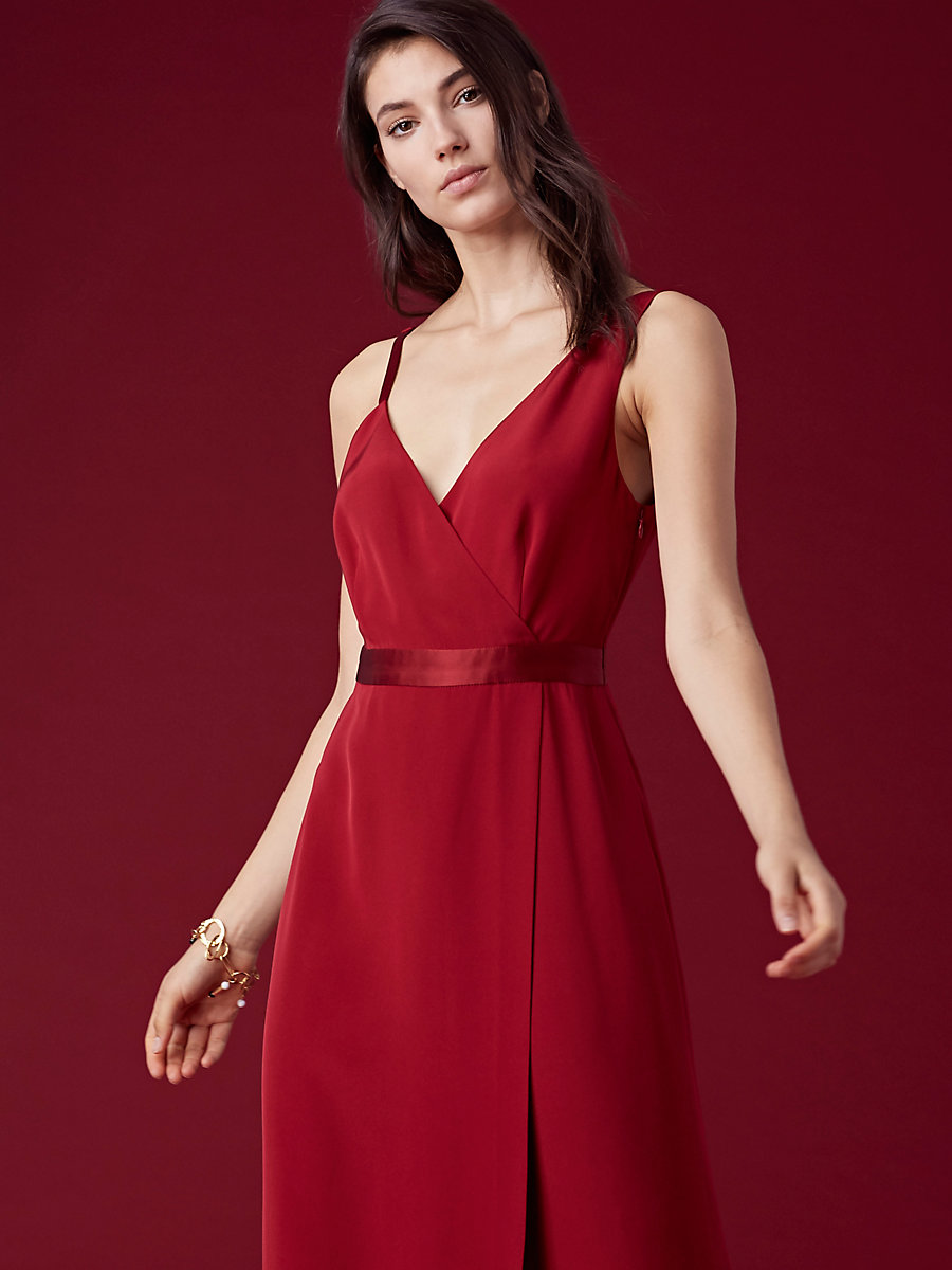 Asymmetric Side Slit Gown in Rust by DVF