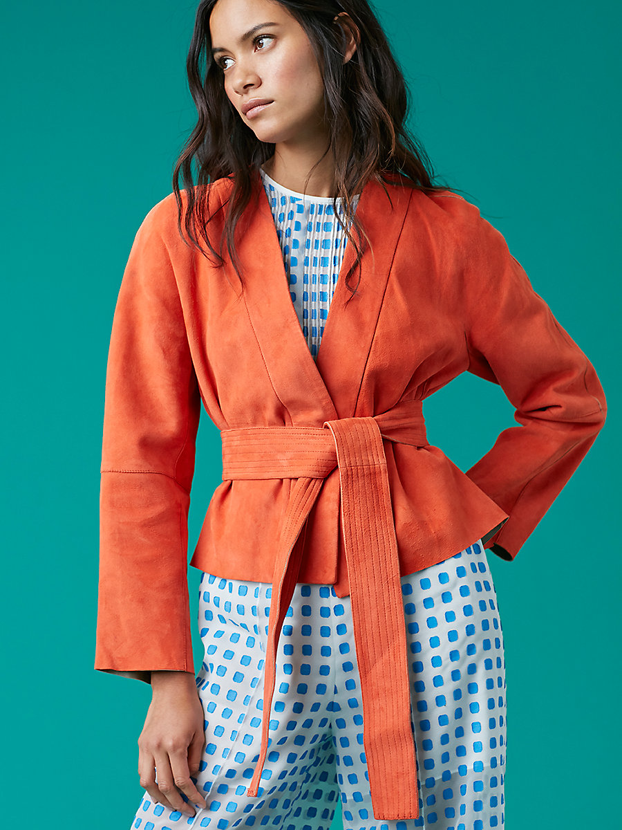 Suede Wrap Jacket in Bold Red/ Mushroom by DVF