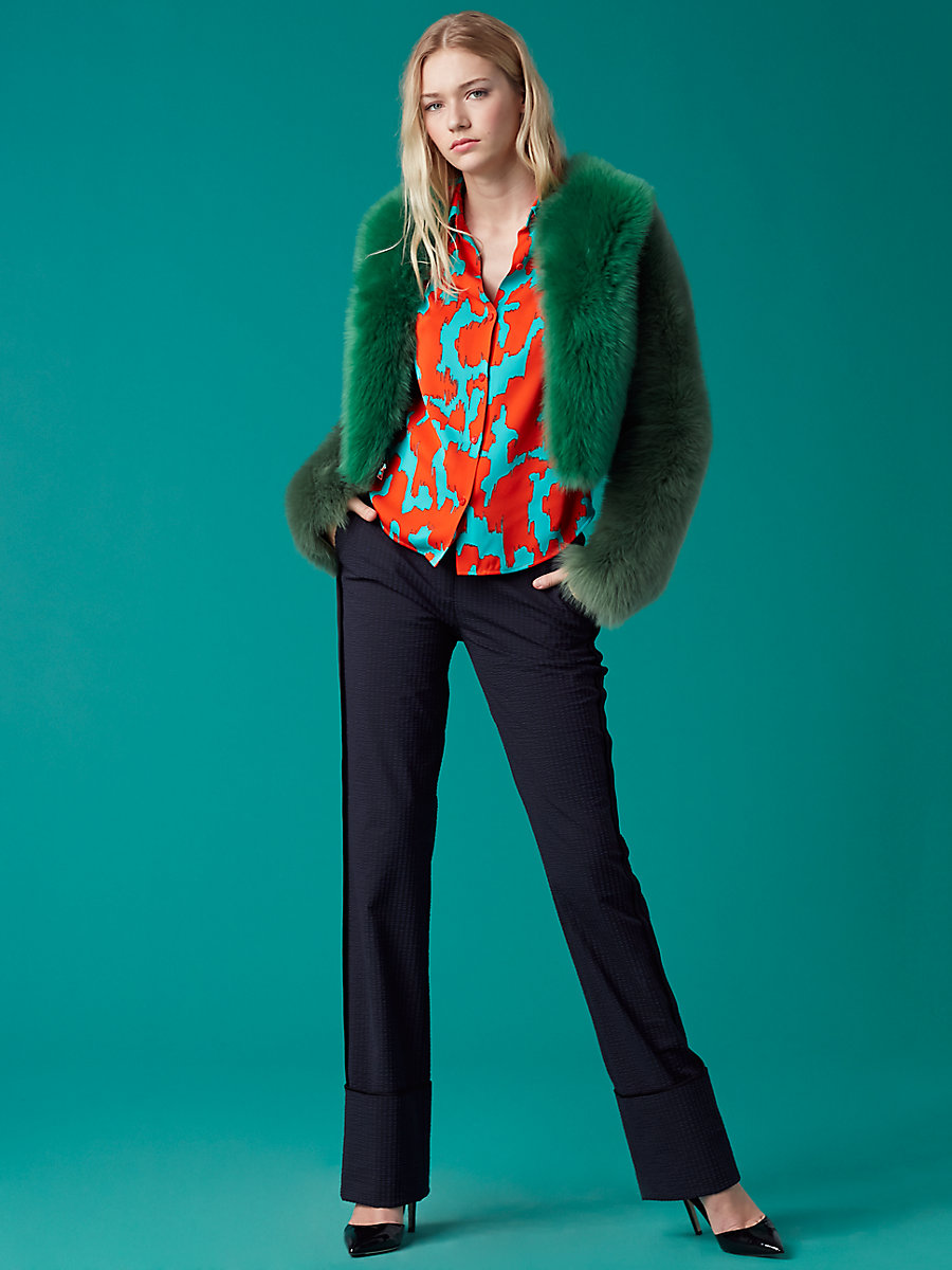 Long-Sleeve Fur Jacket in Dark Green/ Light Green by DVF