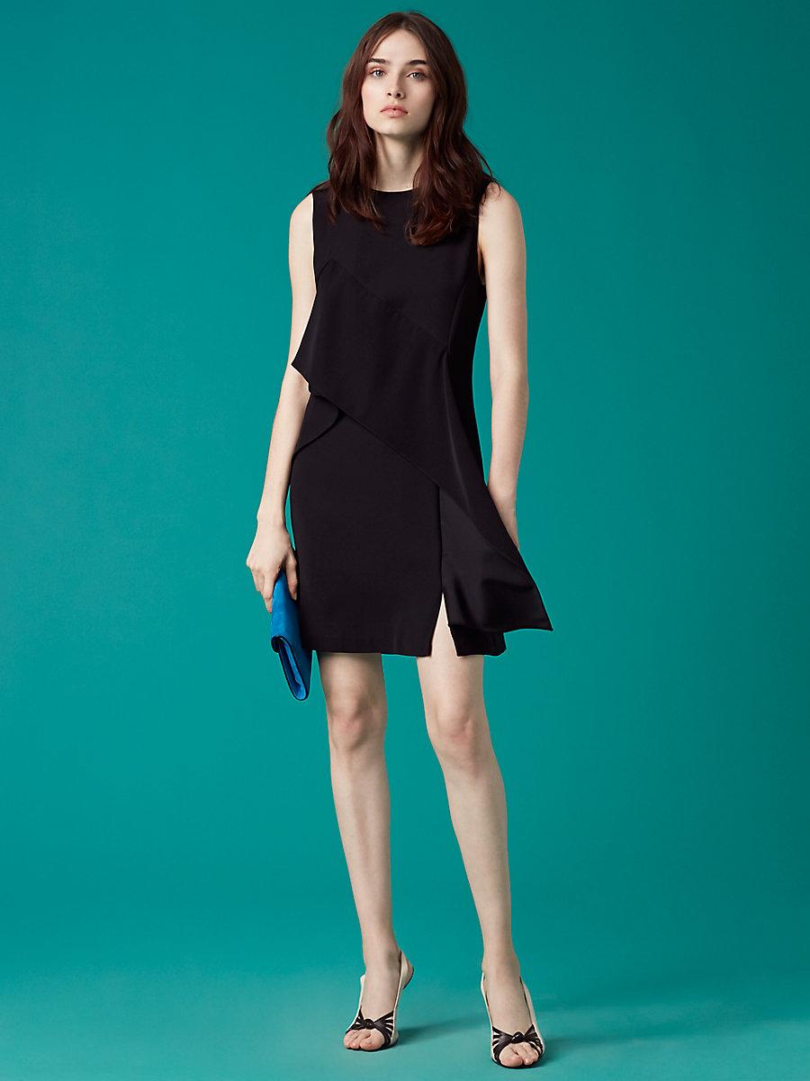 【先行予約 6月下旬お届け予定】Ruffle Front Mini Dress in Black by DVF