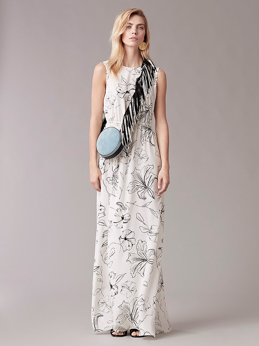 Sleeveless Cinch Waist Dress in Pelier Ivory by DVF