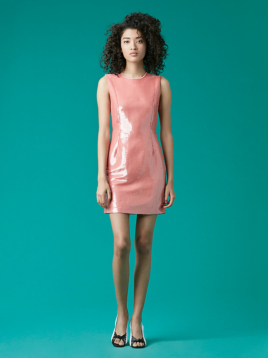 Tailored Sequin Mini Dress in Deep Rose/ Peony by DVF