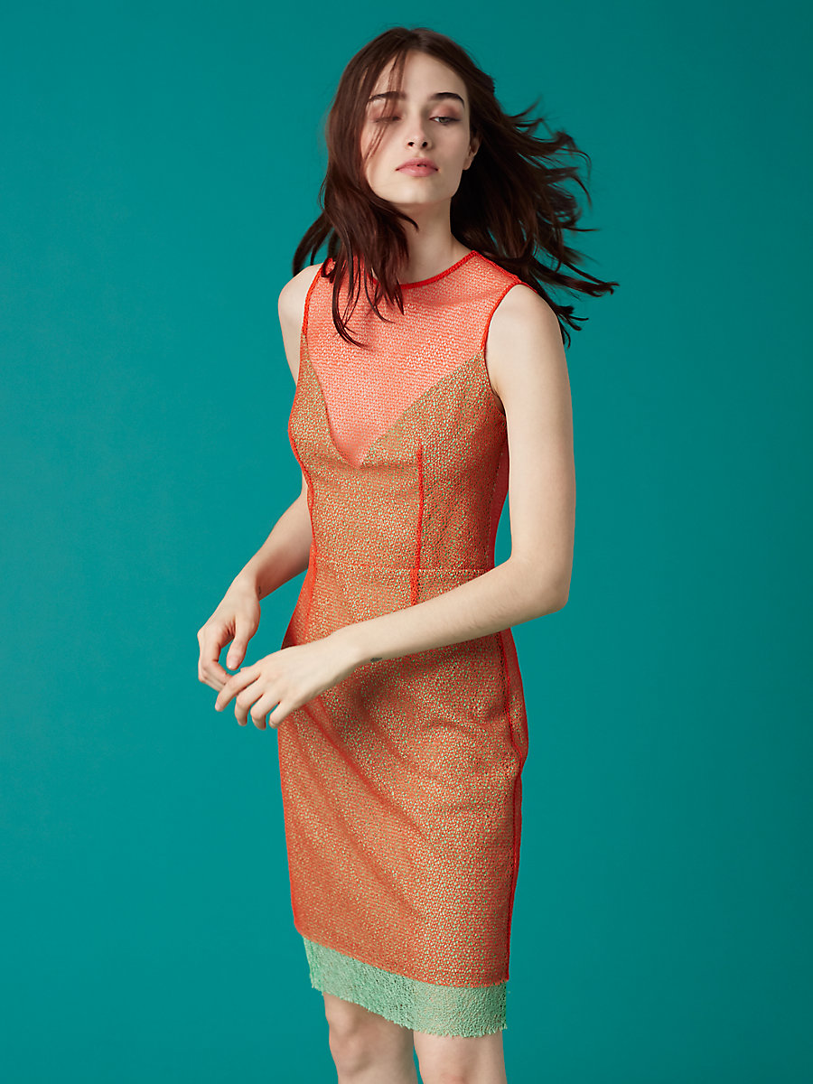 Sleeveless Two Layer Dress in Bold Red/ Fern/ Bold Red by DVF