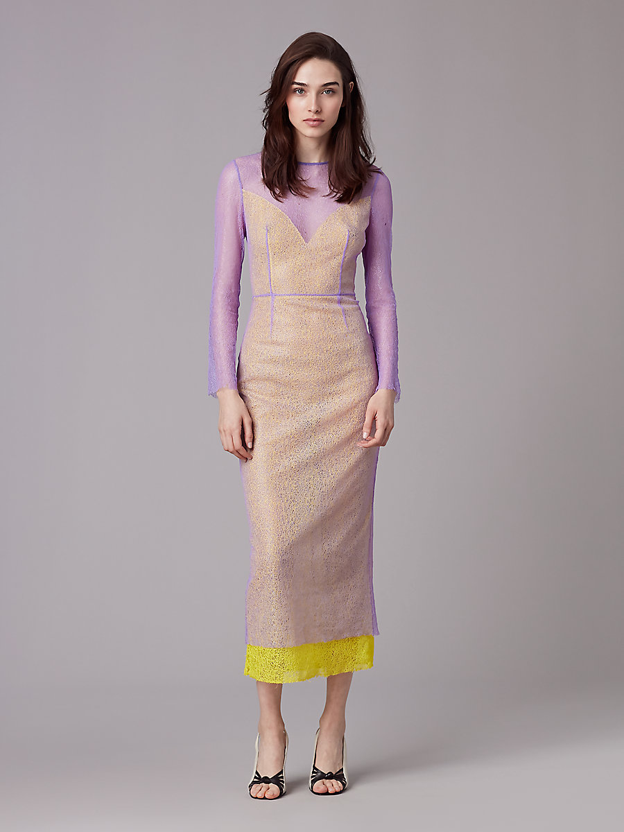 Long Sleeve Two Layer Dress in Violet/ Acid Yellow/ Iris by DVF