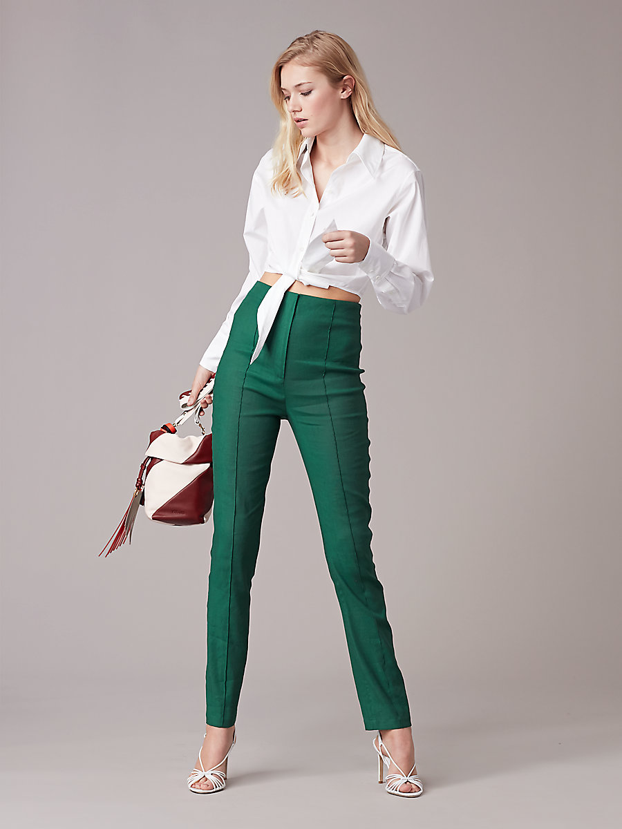High-Waisted Skinny Pant in Bottle Green by DVF