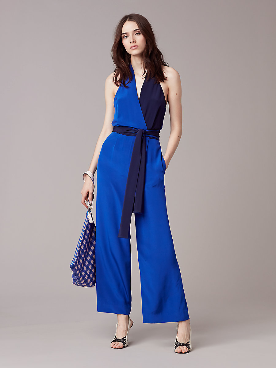 Sleeveless Halter Jumpsuit in Klein Blue/ Midnight by DVF