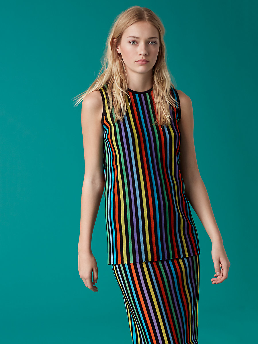 Two Tiered Knit Dress in Azuro Combo by DVF