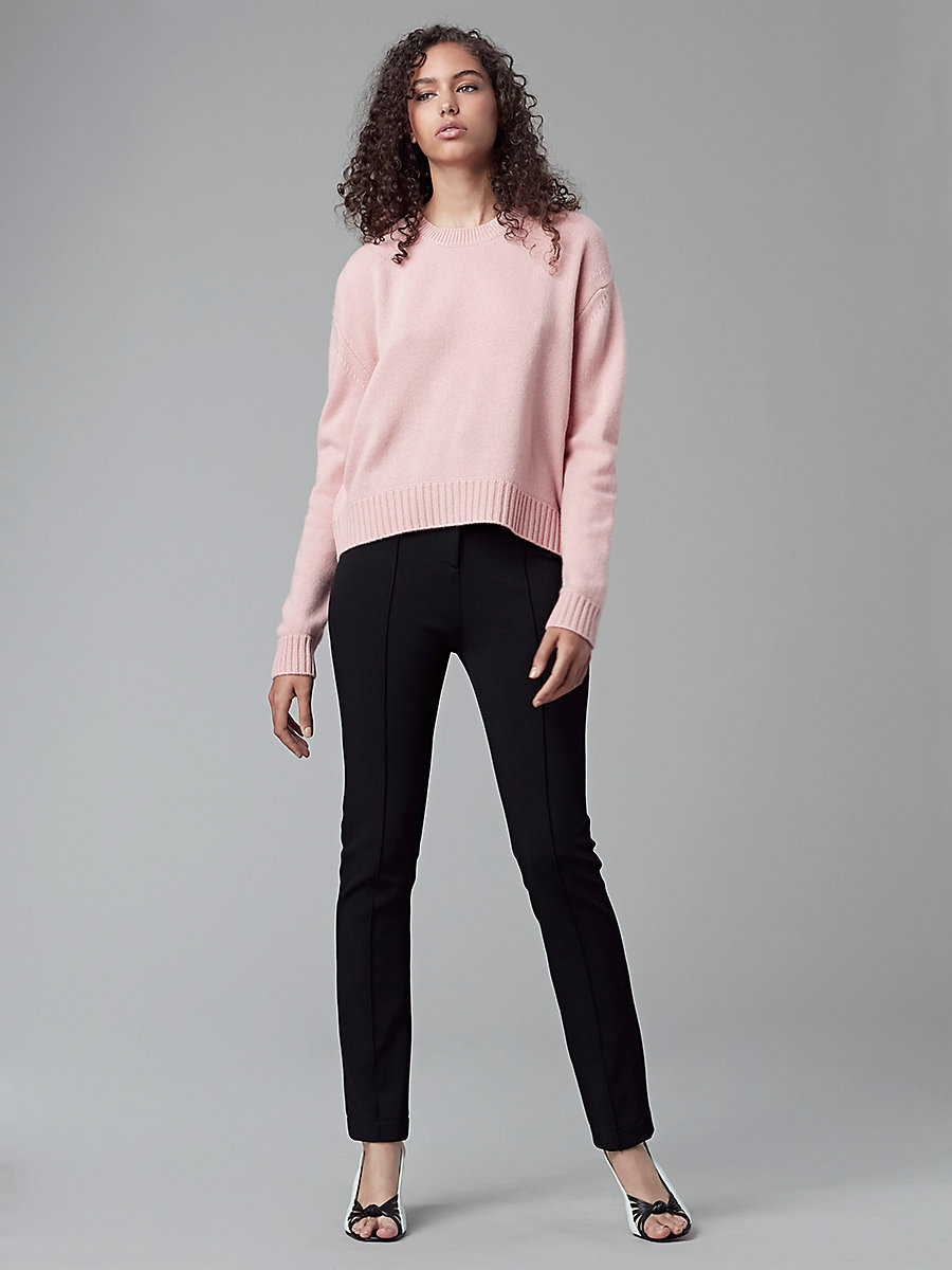 Cashmere Crewneck Knit pullover in Deep Rose/light Grey Melange by DVF