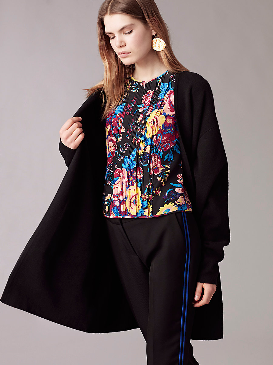 Long-Sleeve V-Neck Knit Cardigan in Black by DVF
