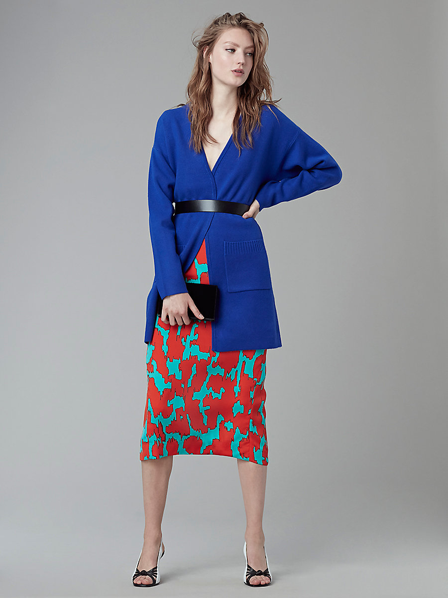 Long-Sleeve V-Neck Knit Cardigan in Klein Blue by DVF