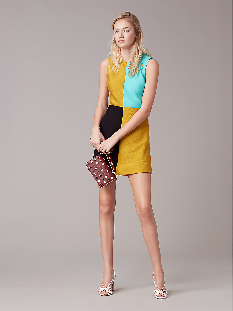 Mini Shift Slit Dress in Mustard/ Black/ Bright Aqua by DVF