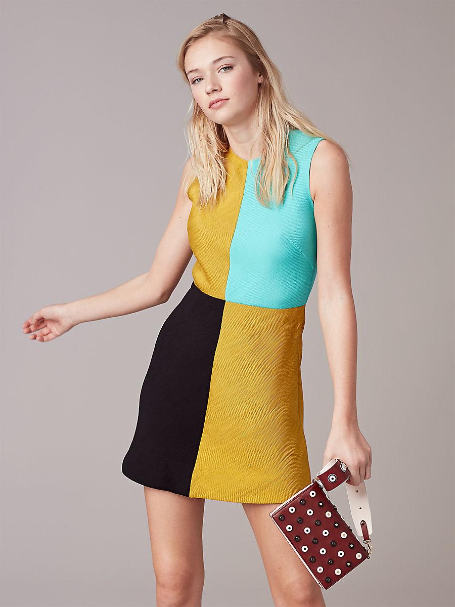 Mini Shift Slit Dress in Mustard/ Black/ Bright Aqua by DVF