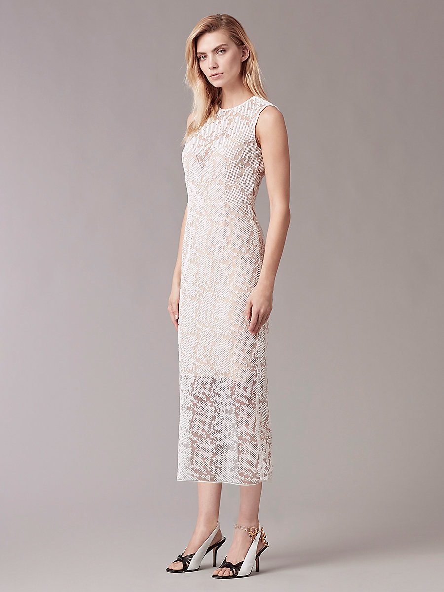 Paneled Overlay Midi Dress in White by DVF