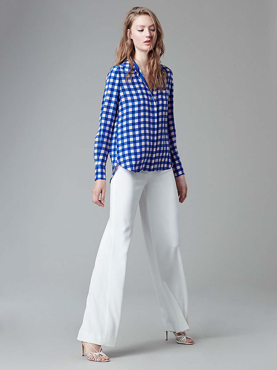 Chiffon Carter Top in Cossier Large Klein Blue by DVF