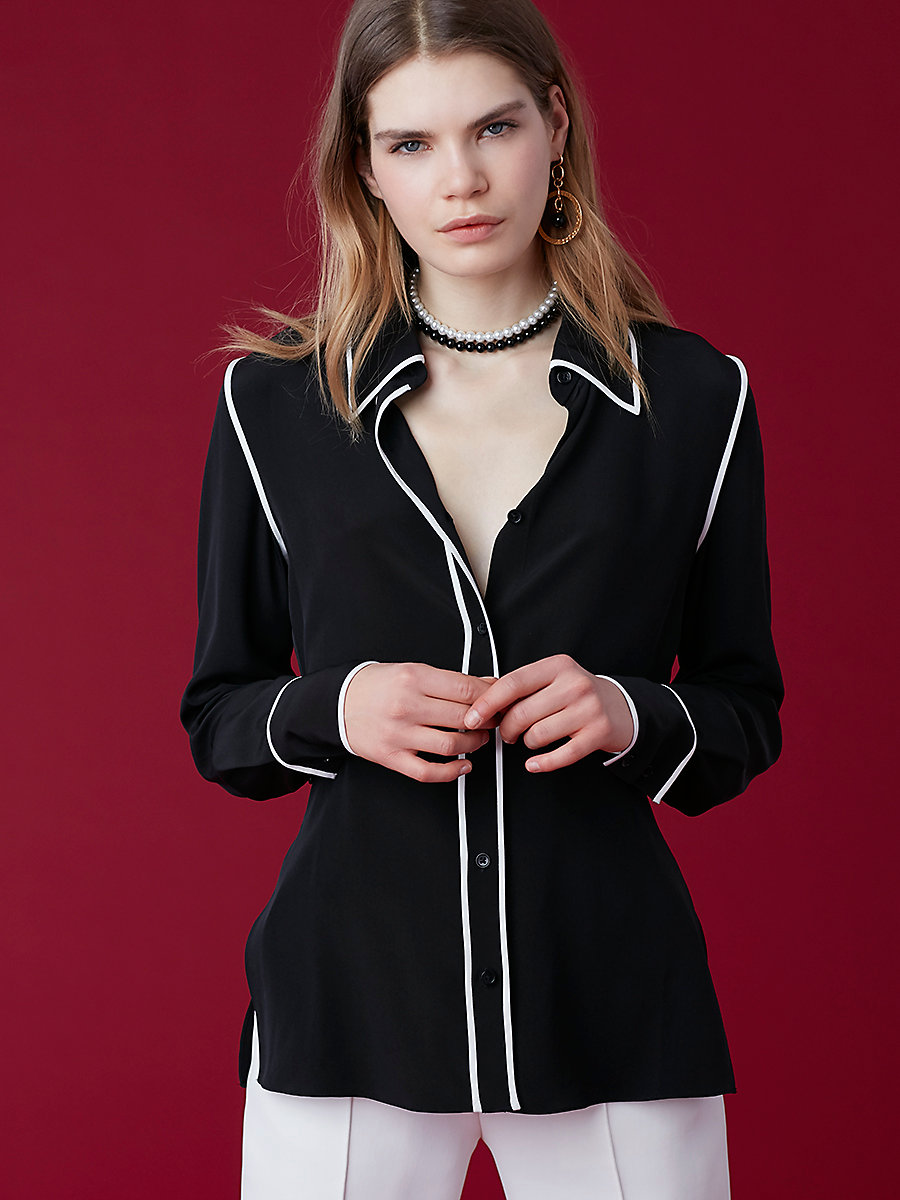 Button Collared Blouse in Black/ White by DVF