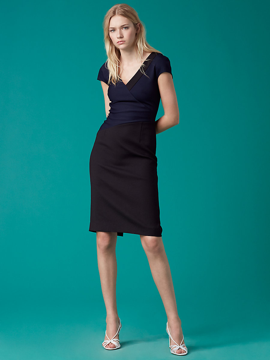 V-Neck Banded Dress in Alexander Navy/ Black by DVF