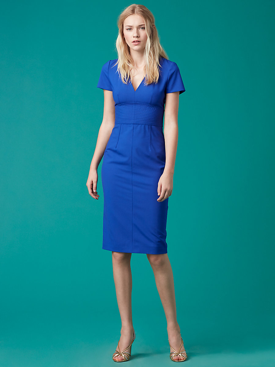 V-Neck Tailored Dress in Klein Blue by DVF