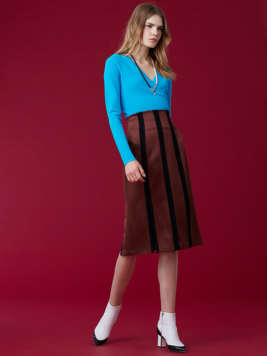 High Waisted Fitted Pencil Skirt in Chestnut/ Black by DVF