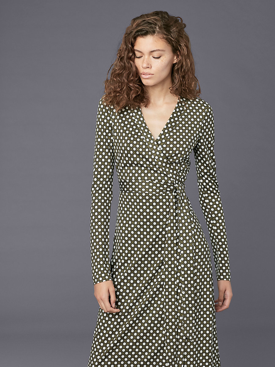 Long-Sleeve Banded Wrap Dress in Leighton Dot Olive by DVF