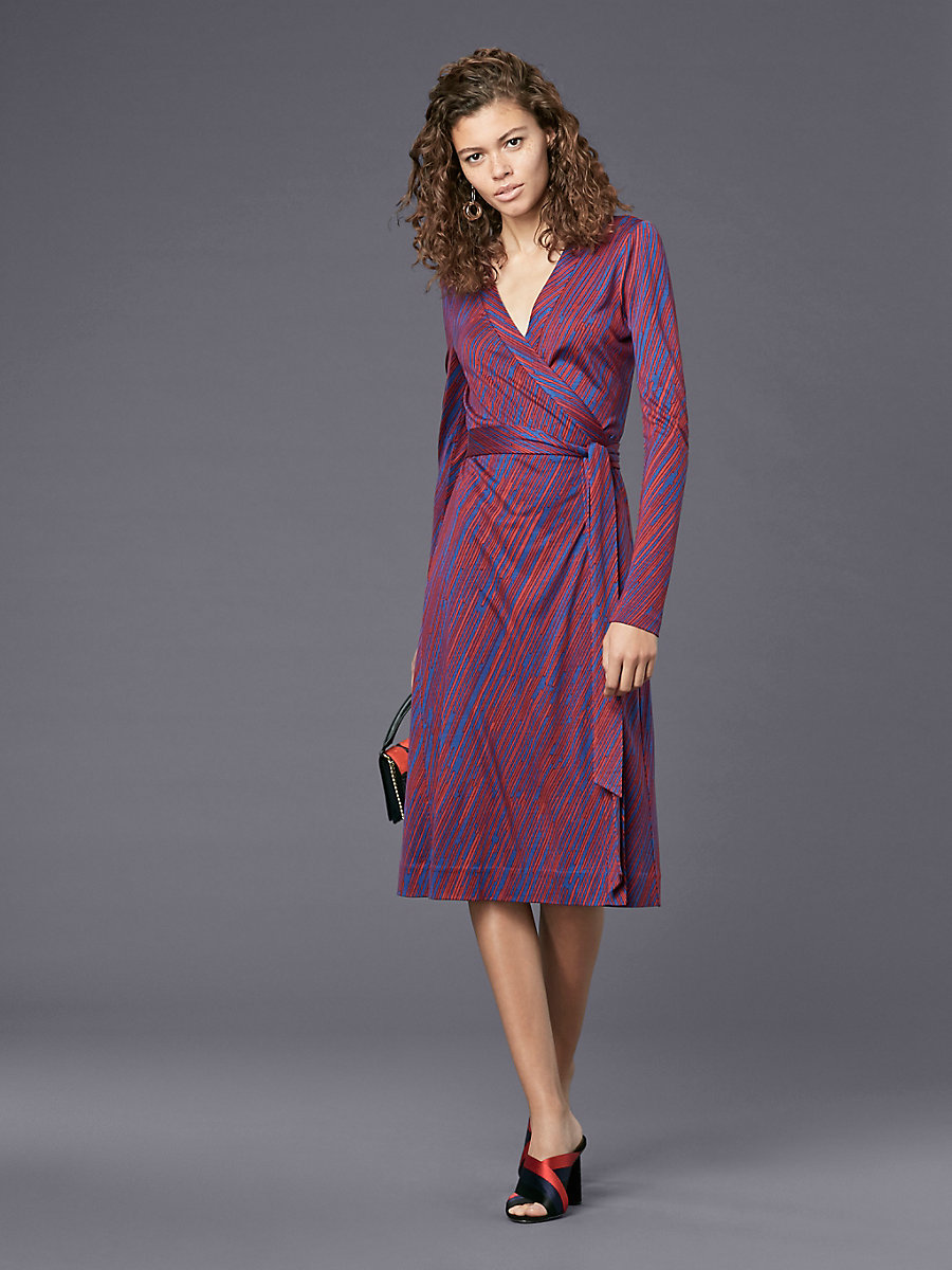 Long-Sleeve Banded Wrap Dress in Visconti Royal by DVF