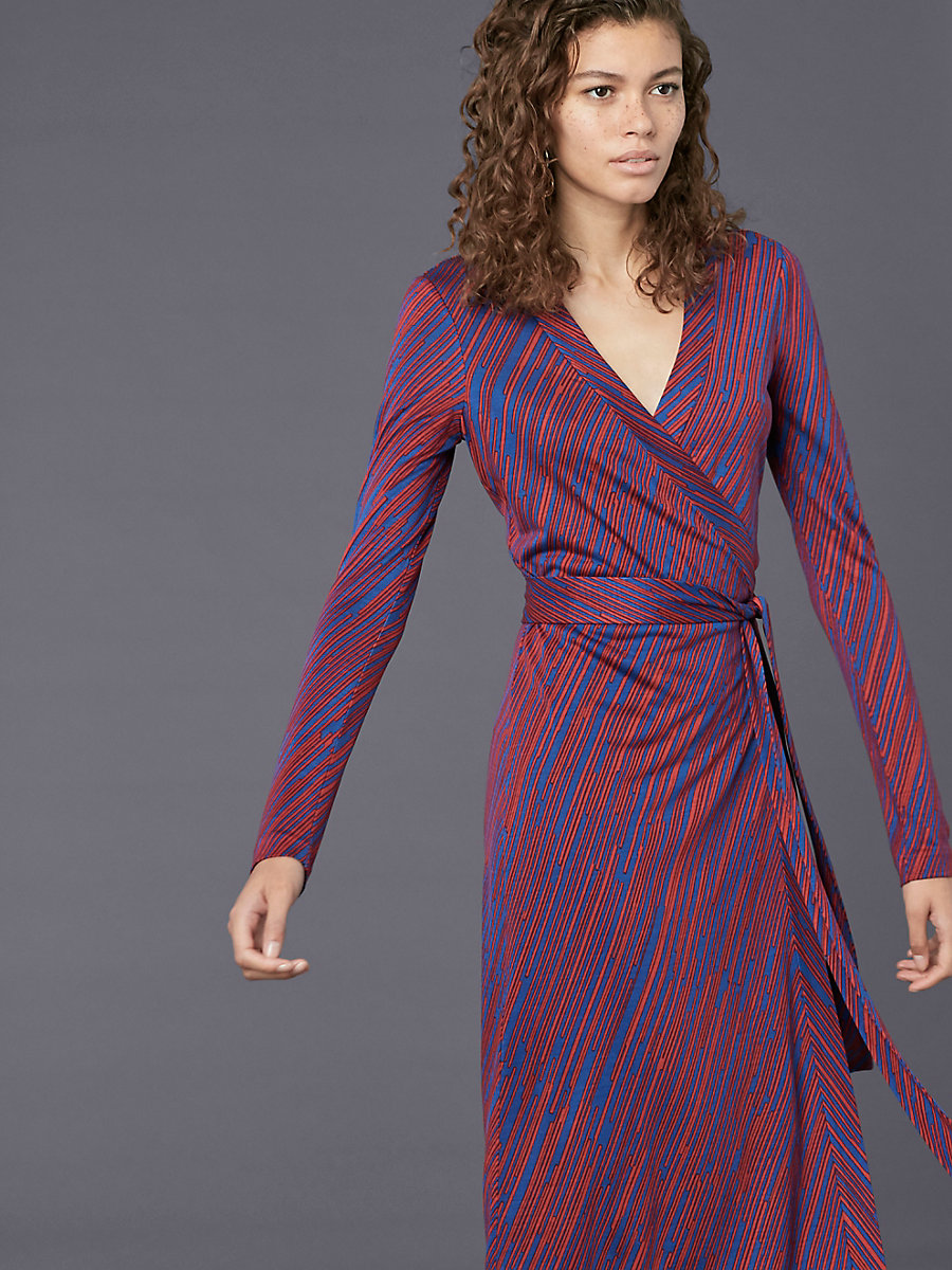 Long Sleeve Cybil Dress in Visconti Royal by DVF