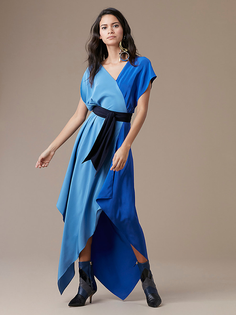 Asymmetric Sleeve Scarf Dress in Denim/ Royal/ Alexander Navy by DVF