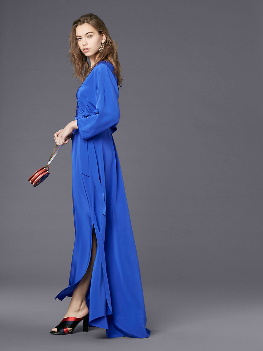 Long-Sleeve Floor-Length Wrap Dress in Electric Blue by DVF
