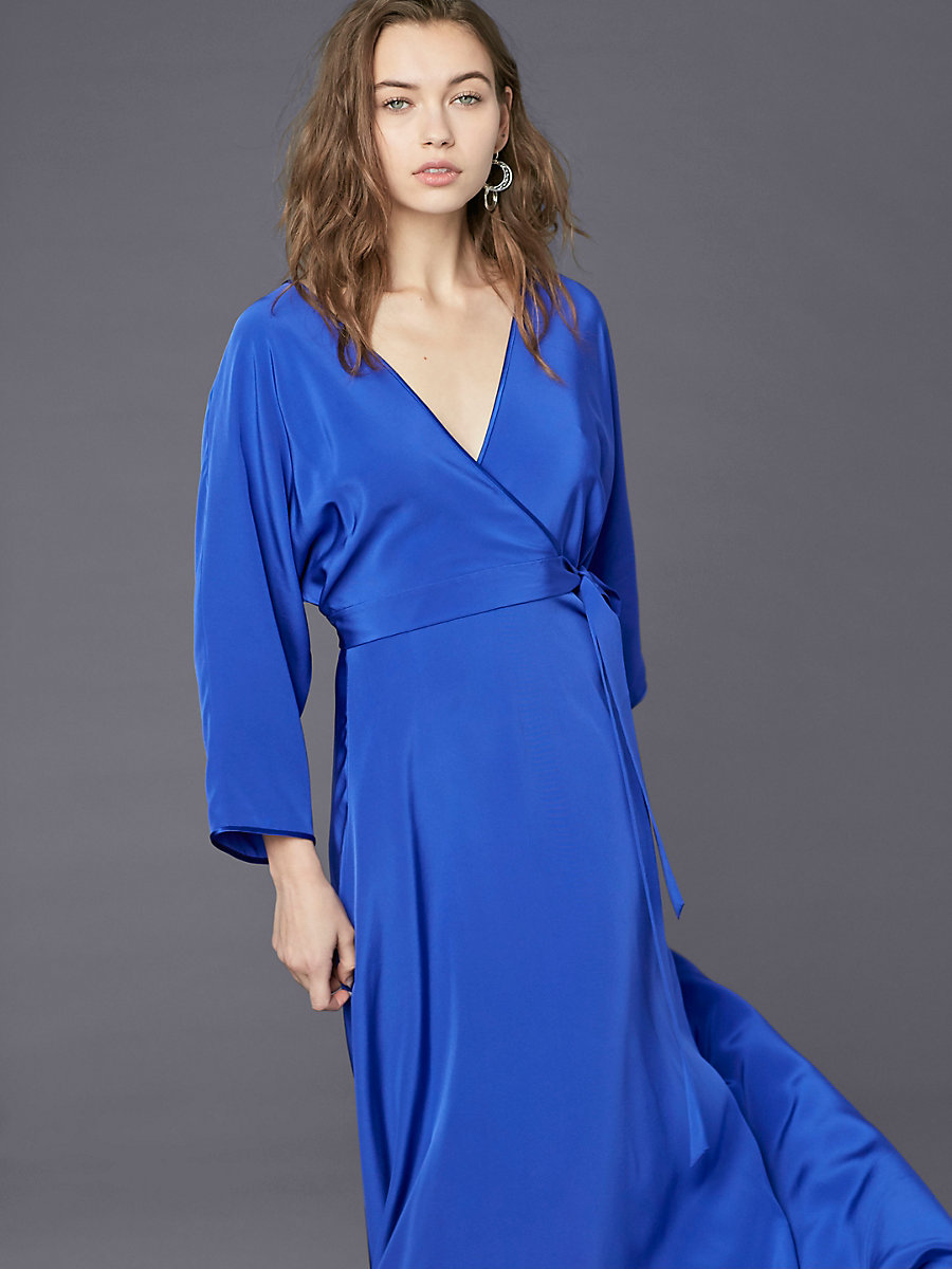 Long-Sleeve Floor-Length Wrap Dress in Electric Blue by DVF
