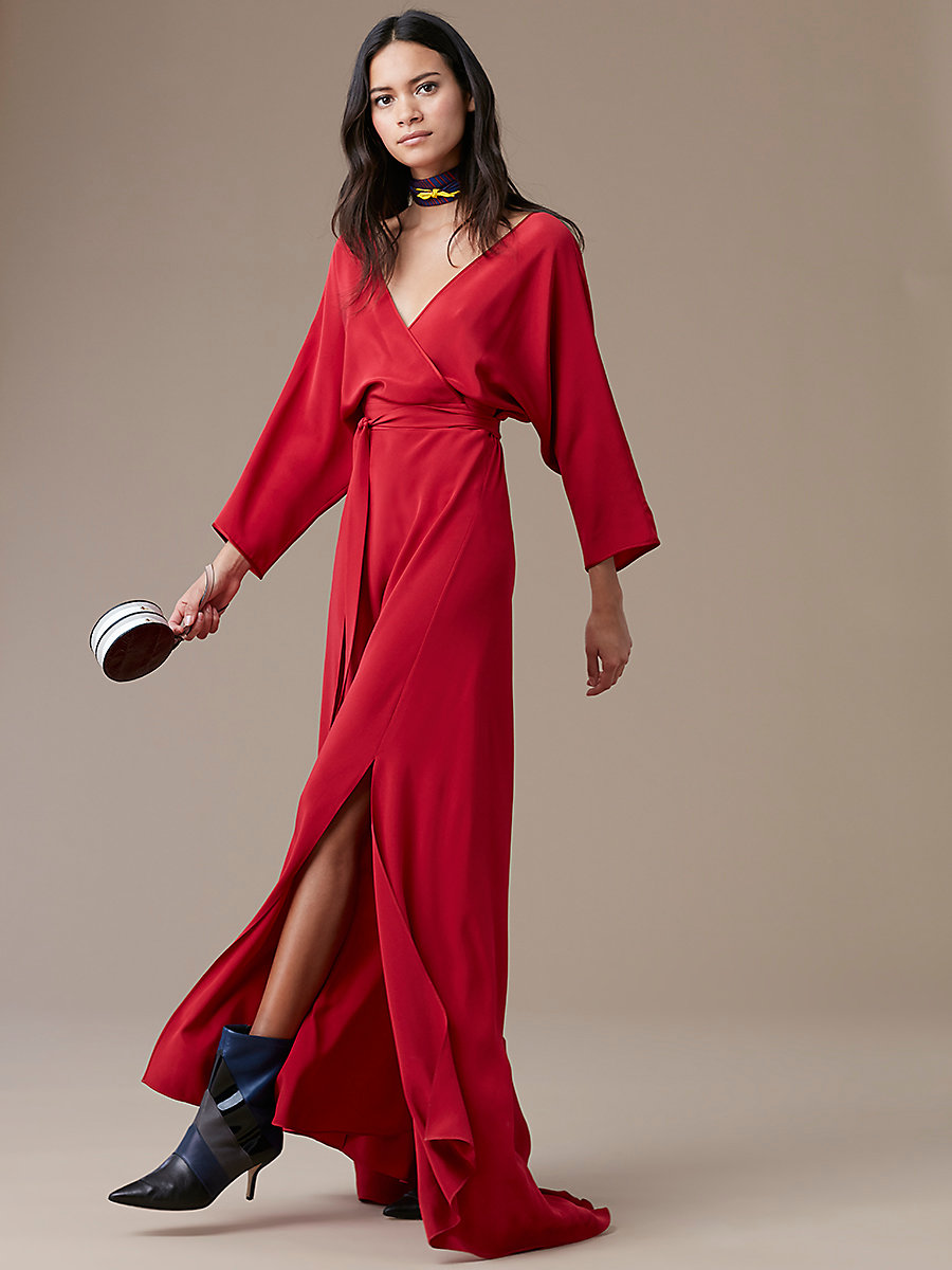 Long-Sleeve Floor-Length Wrap Dress in Rust by DVF