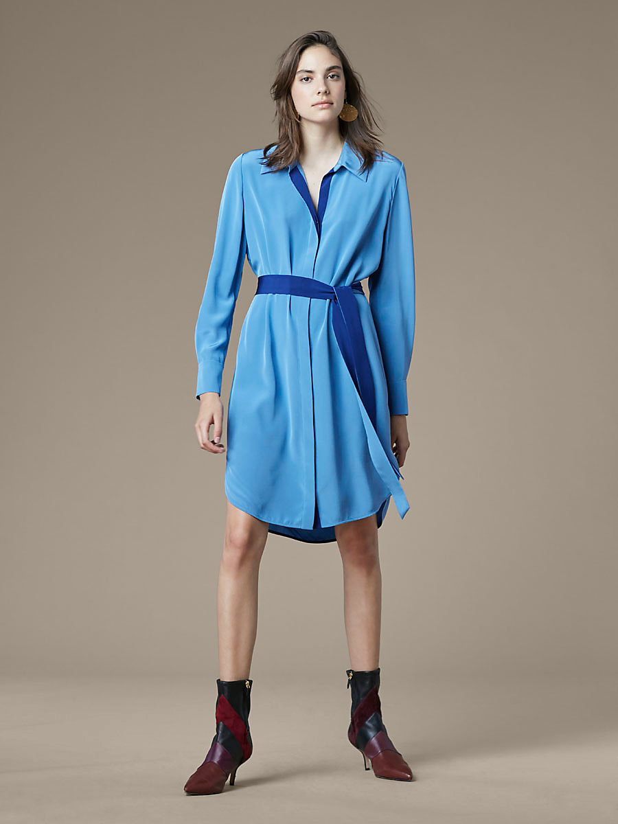 Long-Sleeve Shirtdress in Denim/deep Violet by DVF
