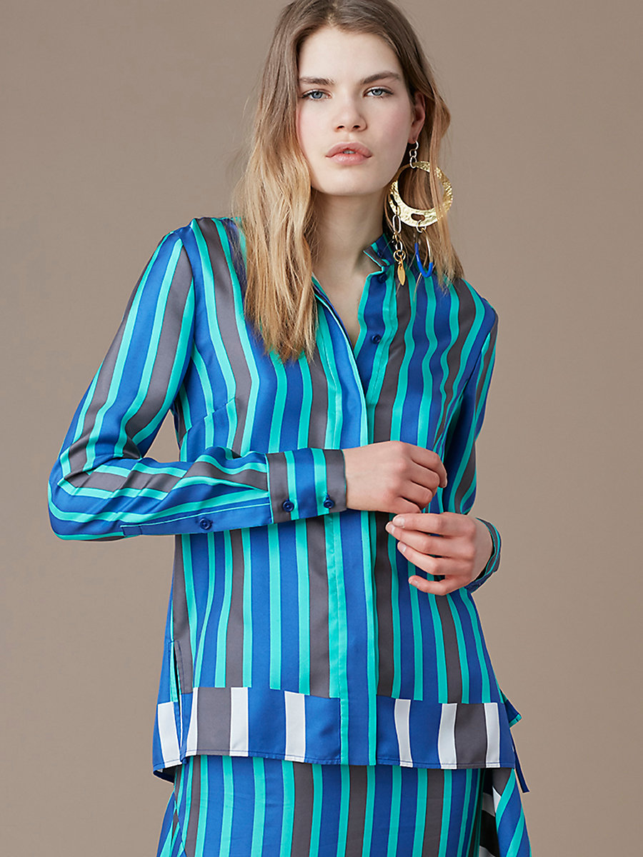 Long-Sleeve Button-Down Shirt in Saxon Stripe Royal by DVF