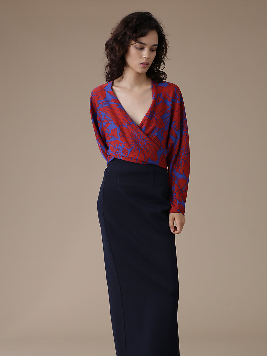 V-Neck Wrap Blouse in Leclaire Rust by DVF