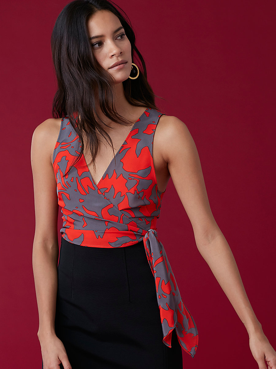 Sleeveless Cropped Wrap Top in Brulon Bright Red by DVF