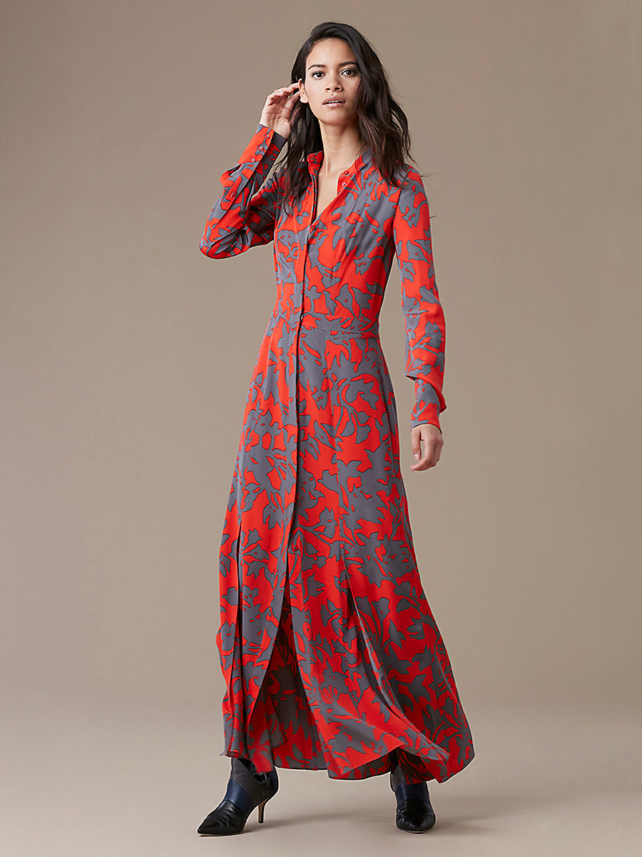 Long-Sleeve Maxi Shirtdress | Landing Pages by DVF