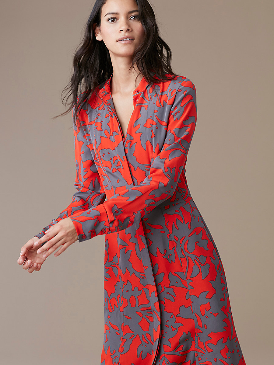 Long-Sleeve Maxi Shirtdress in Brulon Bright Red by DVF