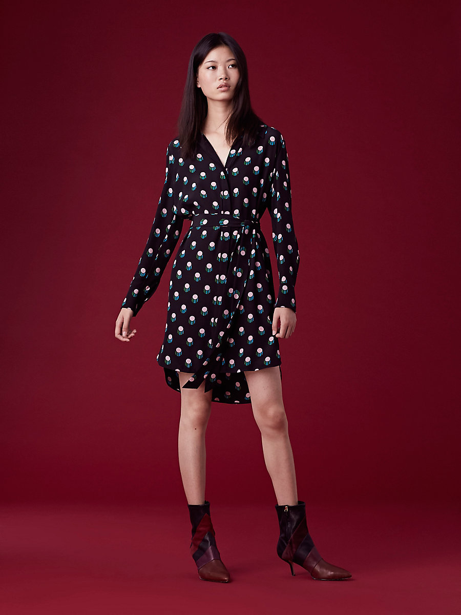 Long Sleeve Collared Shirt Dress in Casimir Dot Black/black by DVF